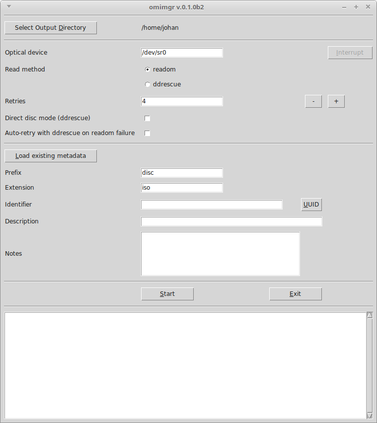 Screenshot of omimgr interface at startup
