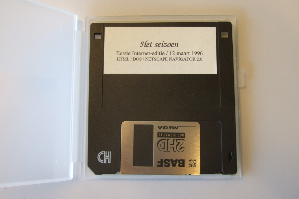 Photograph of floppy with descriptive information on label