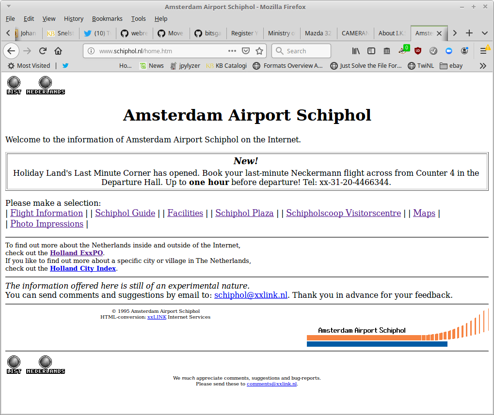 Home page of Schiphol Airport