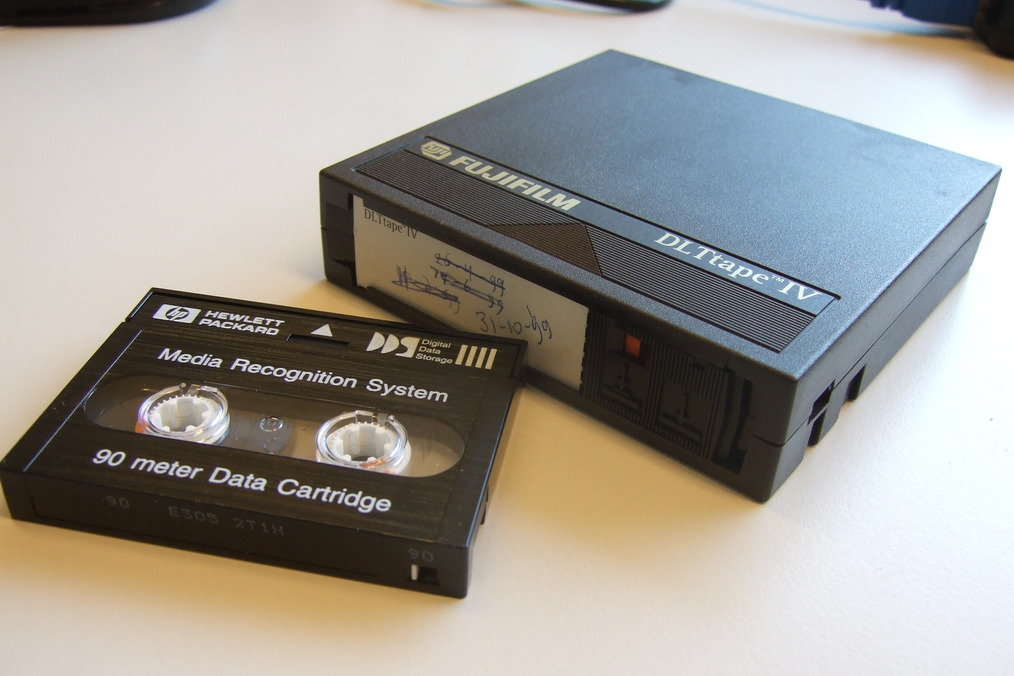 DDS-1 (left) and DLT-IV (right) tape